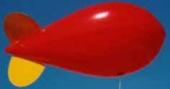 red and yellow color helium advertising blimp