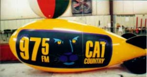 Helium advertising blimp with logo