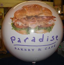 Big 7ft. in diameter balloon with Paradise Bakery logo