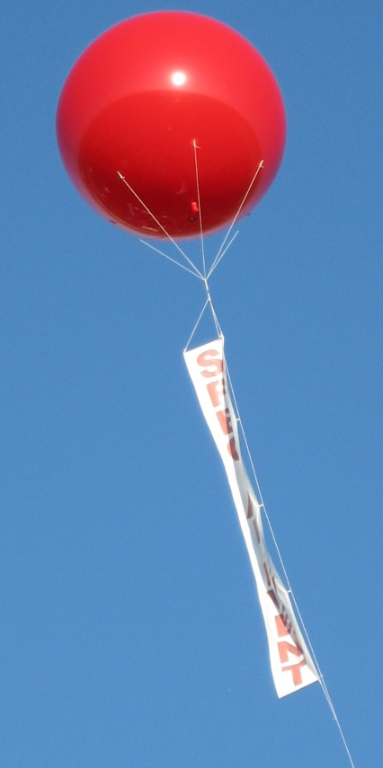 Giant Helium Balloon with Vertical Banner