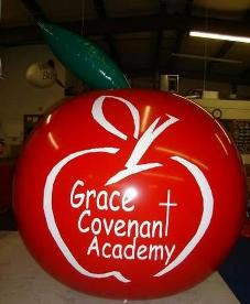 7 ft. apple helium balloon with logo