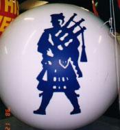 Large helium balloon with logo.
