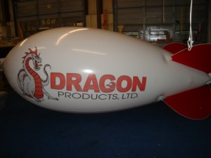 advertising blimp with Dragon logo
