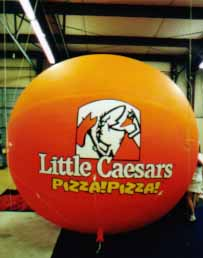 advertising balloon with Little Caesar logo