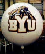 advertising balloon with university logo