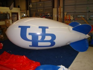 advertising blimp with University of Buffalo logo