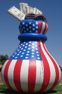advertising inflatables - money bag 25 ft. shape advertising inflatable