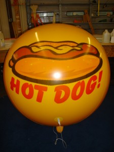 advertising balloon - giant helium balloon with hot dog logo