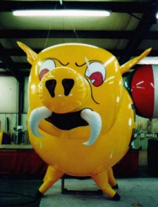 custom balloon - helium balloon in shape of a War Pig college mascot