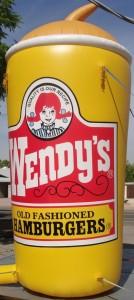 huge 20 ft. tall custom balloon with Wendy's logo