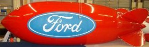 advertising blimp with Ford logo