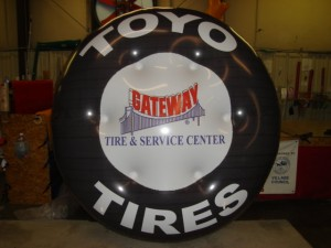 advertising balloon in shape of car tire with Toyo logo