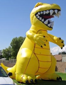 advertising inflatable - giant 25 ft. tall yellow color T-Rex shape advertising balloon