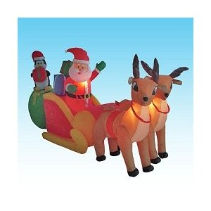 Holiday inflatables - Santa and reindeer yard inflatable