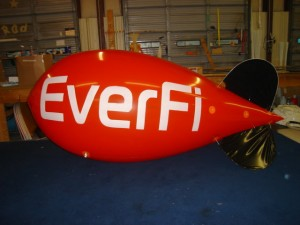 advertising blimp - red color with white lettering
