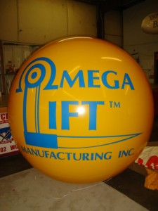 giant helium balloon with logo