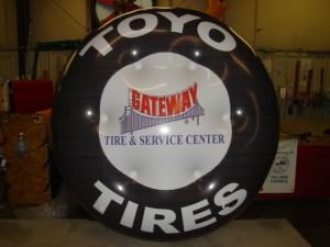 giant custom helium balloon in tire shape