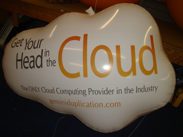 large white cloud balloon with business logo