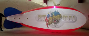 LED lighted advertising blimp with artwork