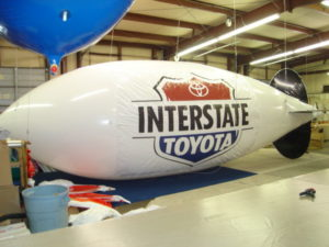 30ft helium advertising blimp for auto dealership