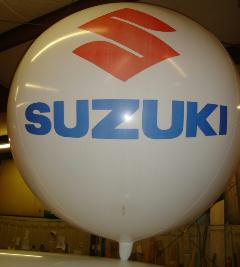 helium advertising balloon white color with Suzuki logo
