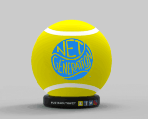 USTA Net Generation logo on tennis ball inflatables