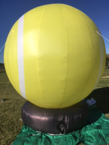 rear view of tennis ball inflatable