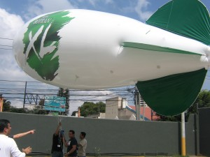 30ft long white color promotional blimp with logo