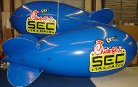 blue color advertising blimps with logo